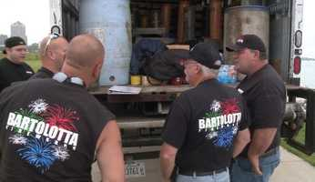 Crews from Bartolotta Fireworks are setting up for Thursday's Big Bang fireworks along Milwaukee's lakefront.