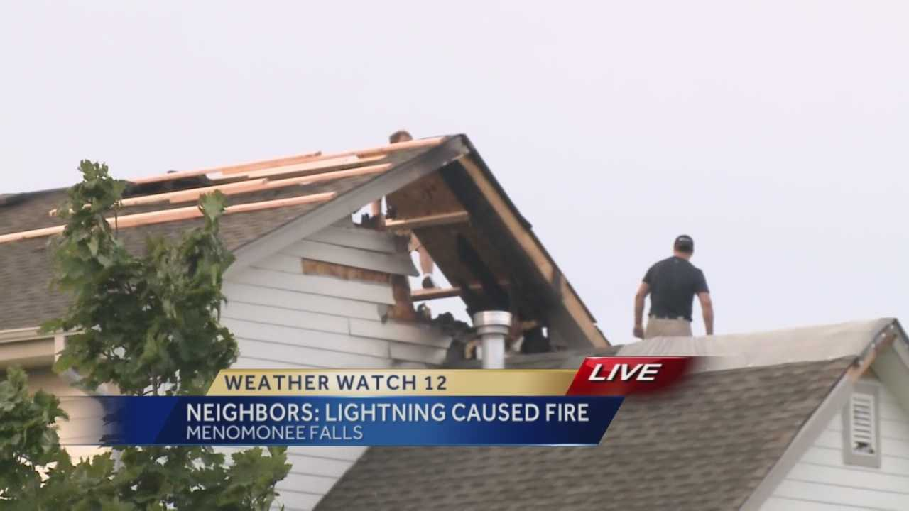 A lightning strike overnight started a fire in the attic of a Menomonee Falls home.
