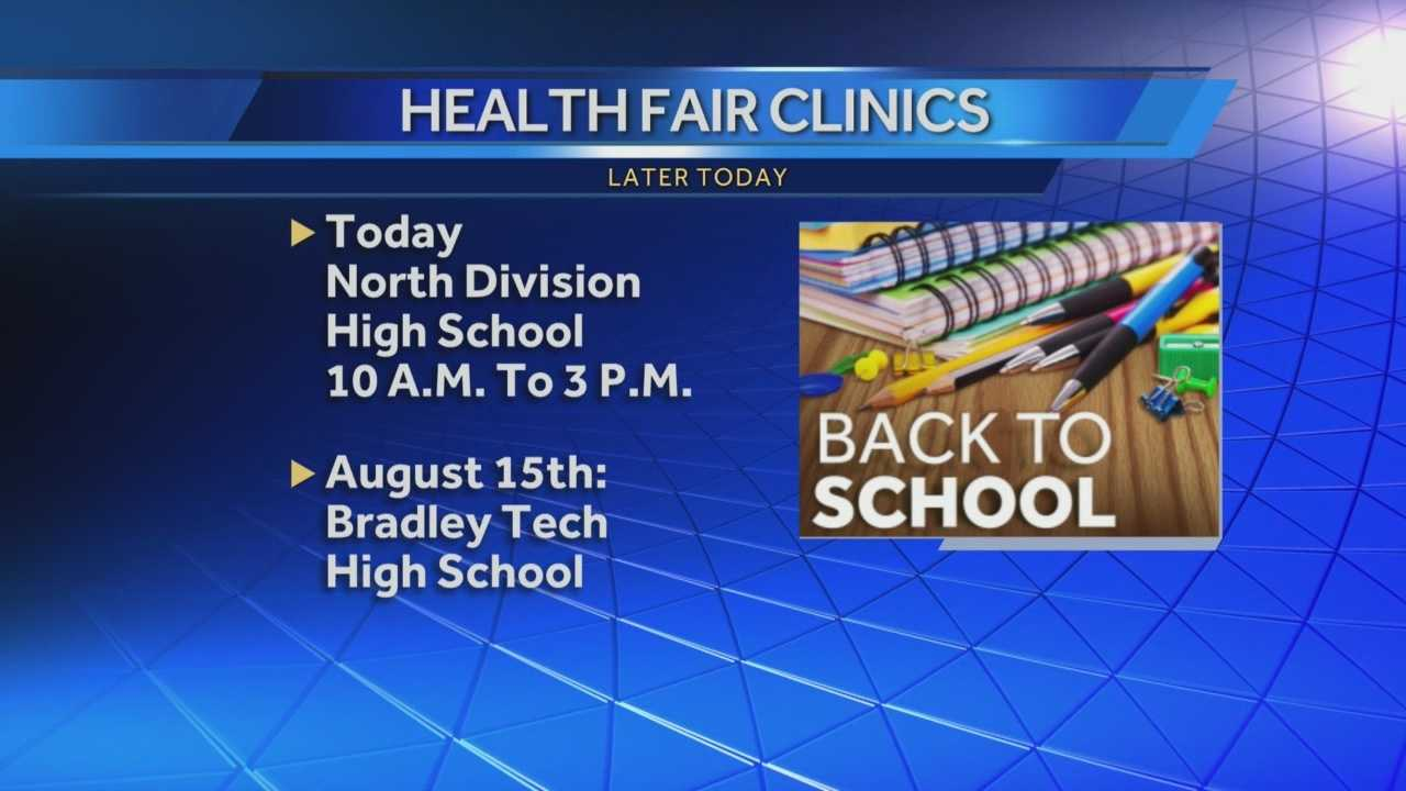 The first of two back-to-school health fairs for Milwaukee Public school children will be held from 10am to 3pm at North Division High School