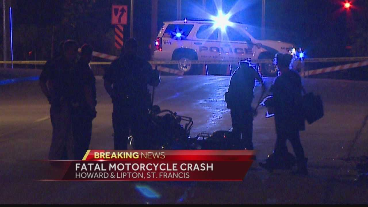 At least one person is dead after a motorcycle crash in St. Francis overnight.