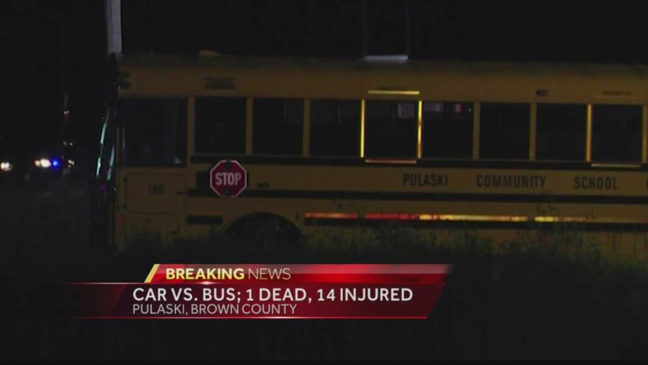A car crashed into a school bus carrying the Pulaski girls volleyball team. A passenger in the car was killed, and the car's driver is in critical condition.