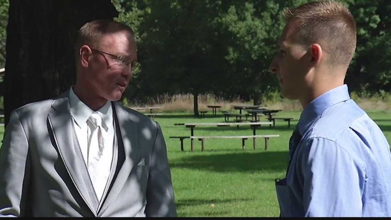 Pewaukee veteran and marrow donor attends wedding of donation recipient.