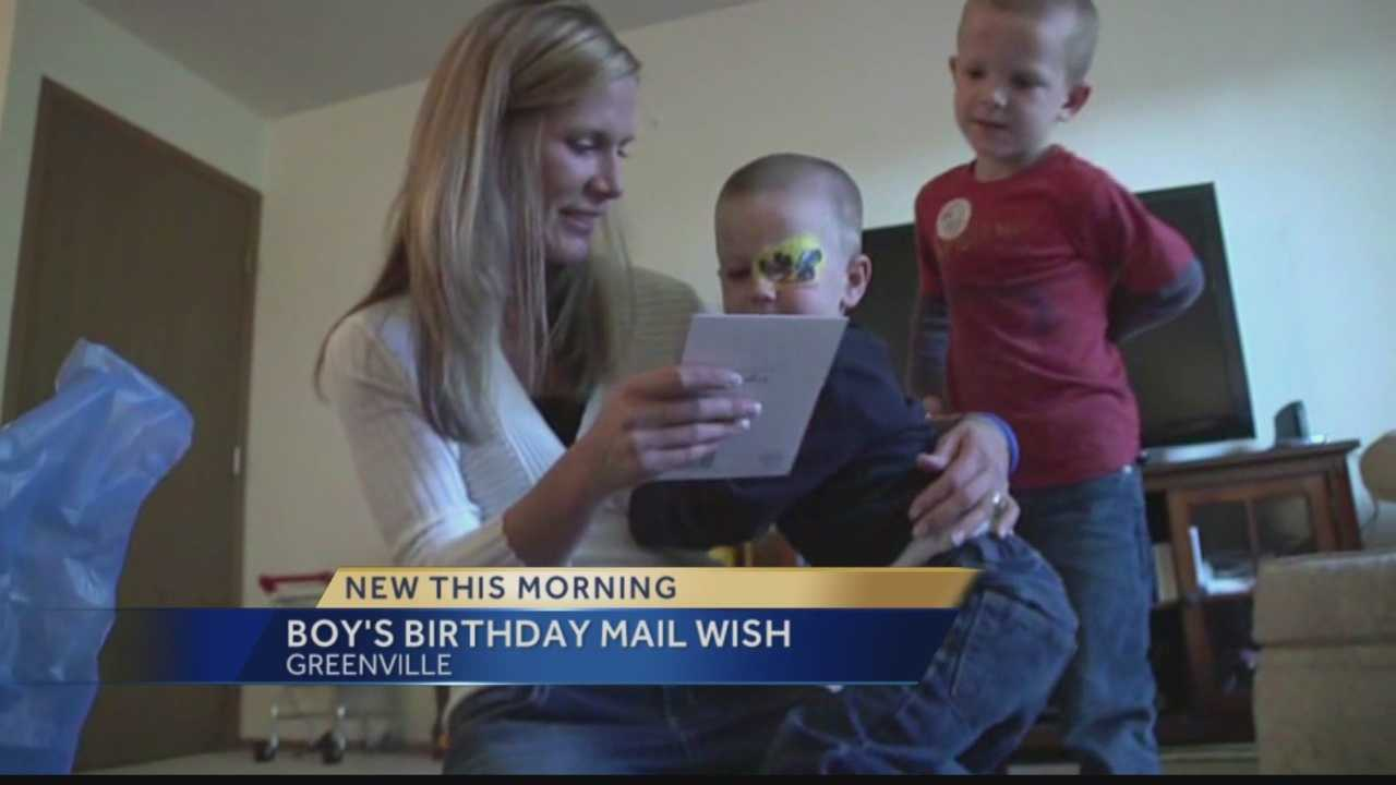 A three-year-old Wisconsin boy with cancer has one request for his birthday make-a-wish: he wants mail.  Here's how you can help.