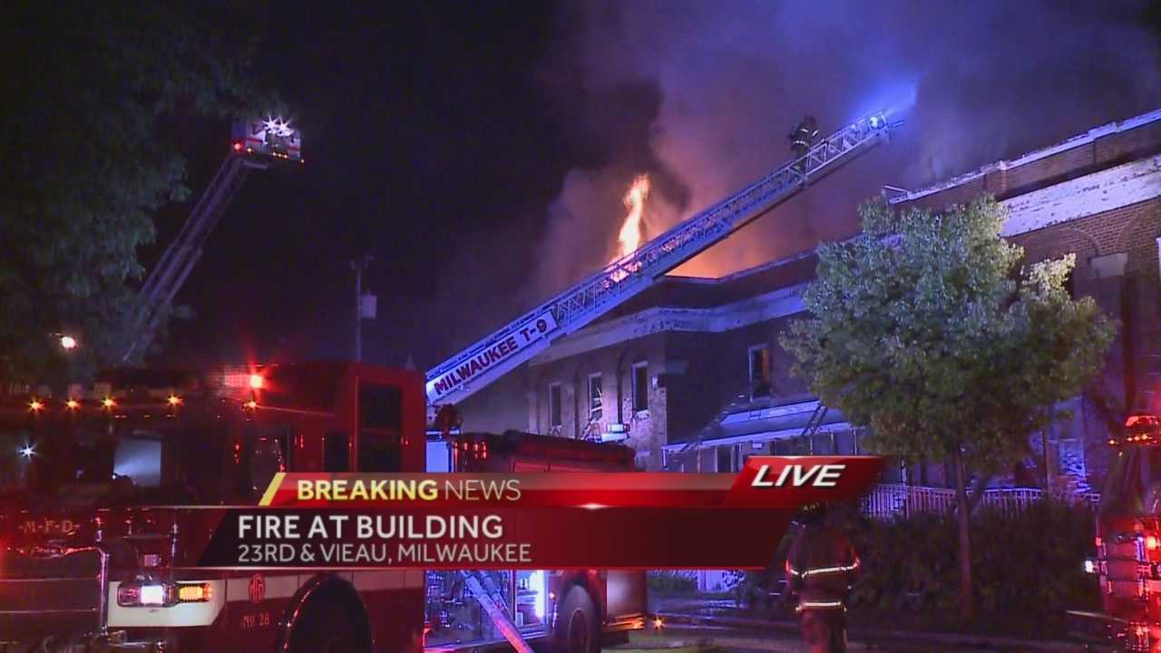 A two-alarm fire is burning at a Milwaukee community center.  WISN 12 News Ben Hutchison reports.