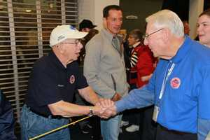 """Joe Demler, one of the stars of the documentary """"Honor Flight"""", is on hand to welcome home the vets."""