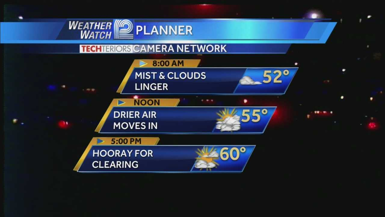 Thursday morning mist and fog will slowly give way to thinner clouds and a high near 60