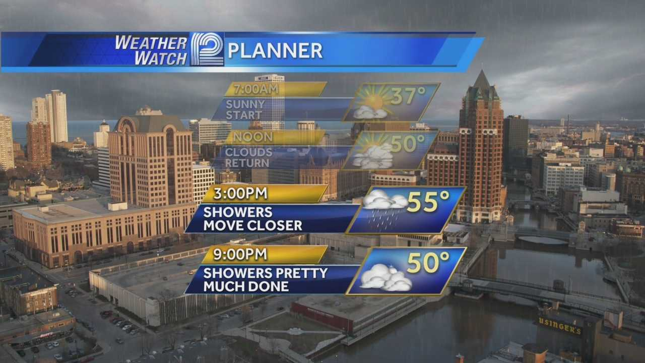 A round of showers will move across Wisconsin on Thursday afternoon, but the winds behind it will be quite warm.