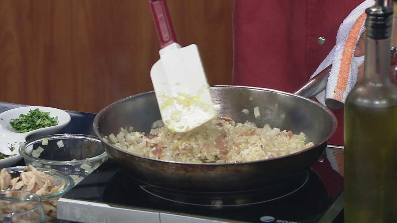 Chef Michael Feker shares his recipe for Apple-smoke bacon, beet & organic chicken risotto.