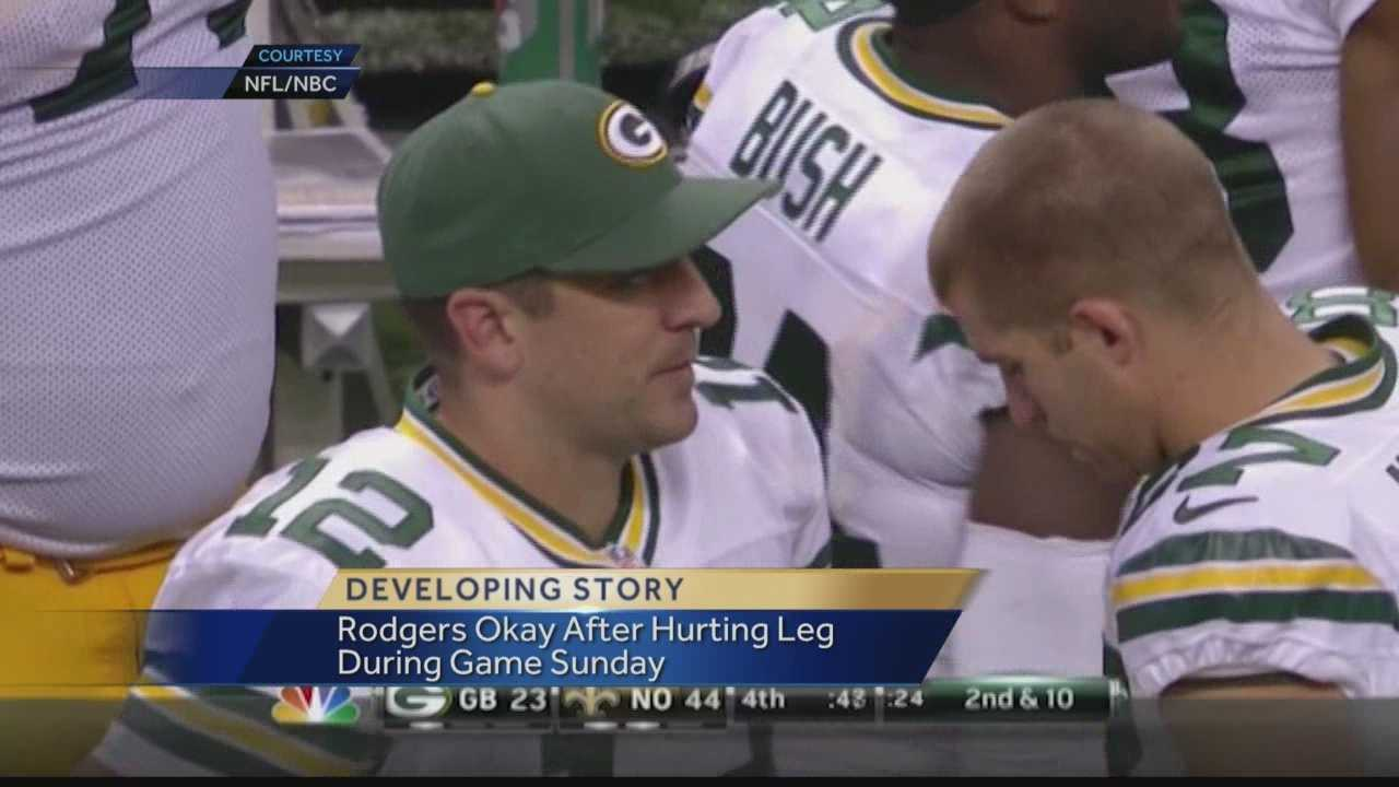 Green Bay Packers quarterback Aaron Rodgers tweaked his hamstring in Sunday night's loss to the Saints, but he said he will not miss any playing time.