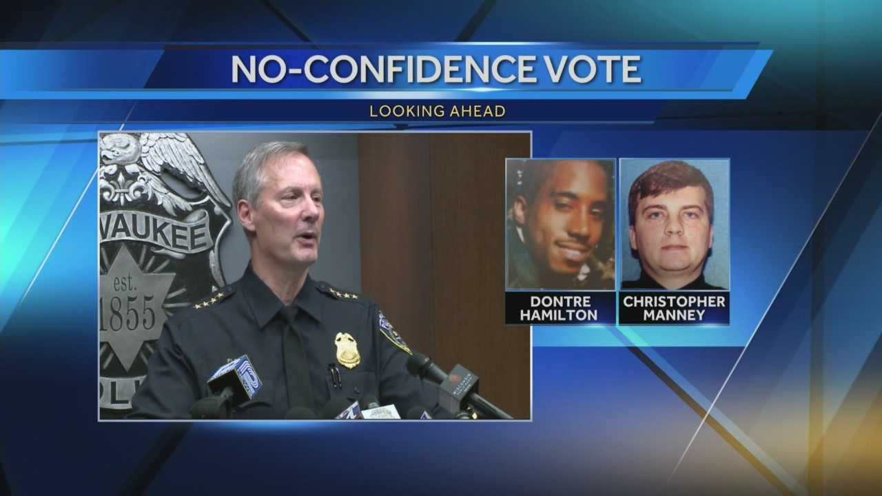 The union representing Milwaukee's police officers will hold a no confidence vote on Thursday regarding police chief Ed Flynn's firing of officer Christopher Manney during the investigation into the shooting of Dontre Hamilton.