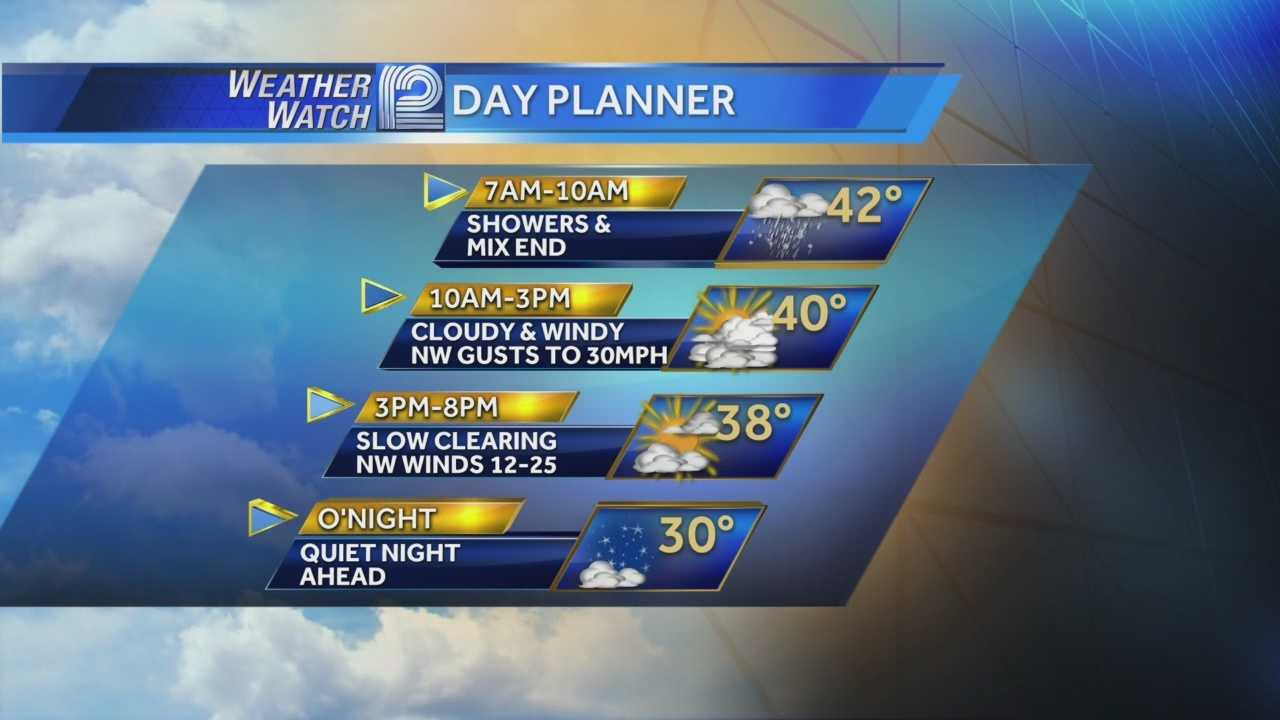 Rain and snow showers will come to an end later this morning, and the cold starts to settle in.