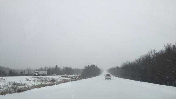 Heavy snows fall on Hwy 53 in northwestern Wisconsin on Nov. 10, 2014.