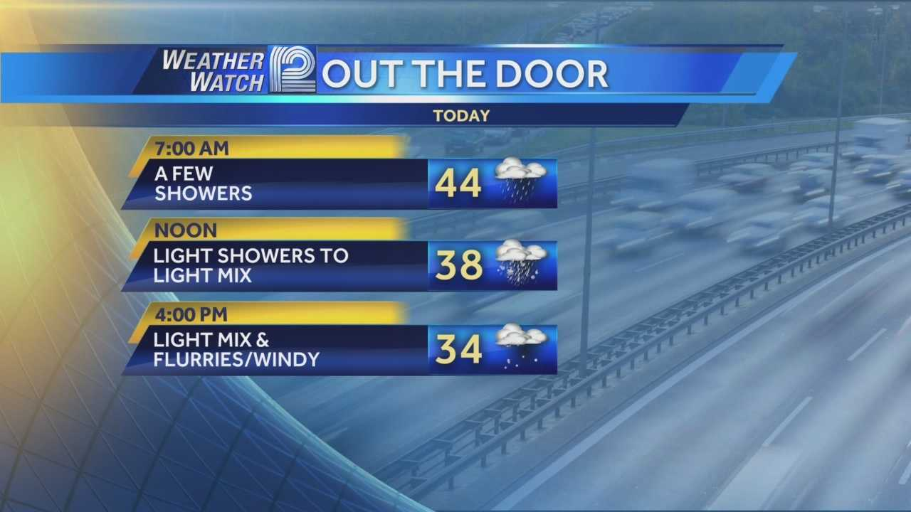 A few flurries and snow showers will fly Tuesday, but the falling temperatures are the story for the next seven to ten days.