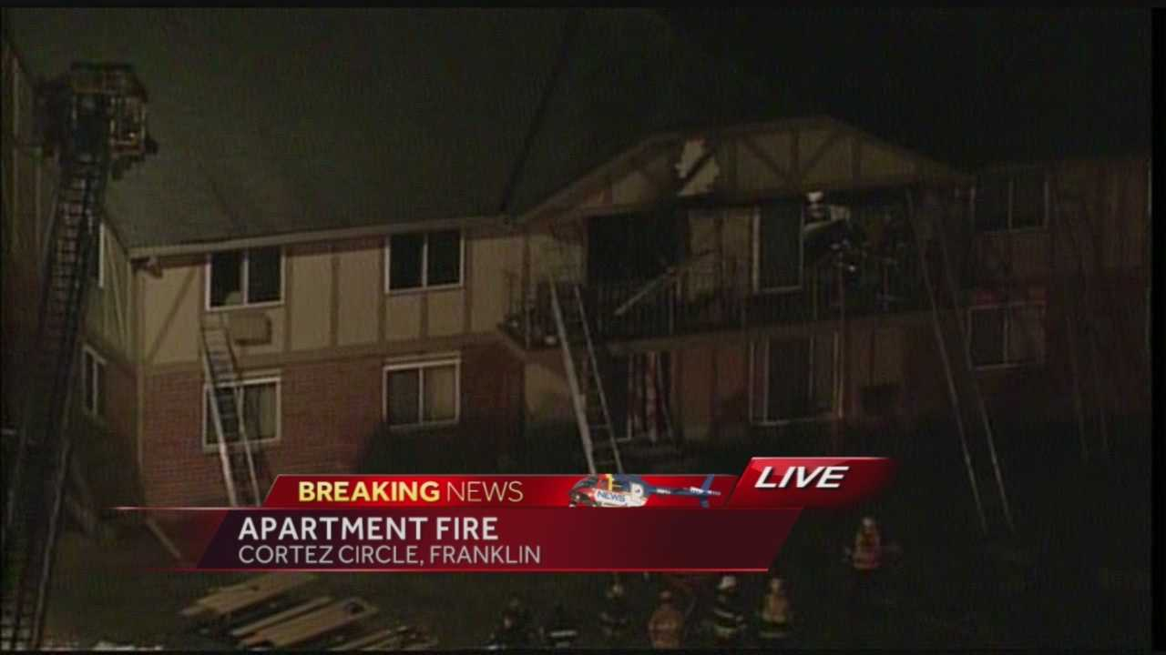 Apartment fire reported on Cortez Circle in Franklin.