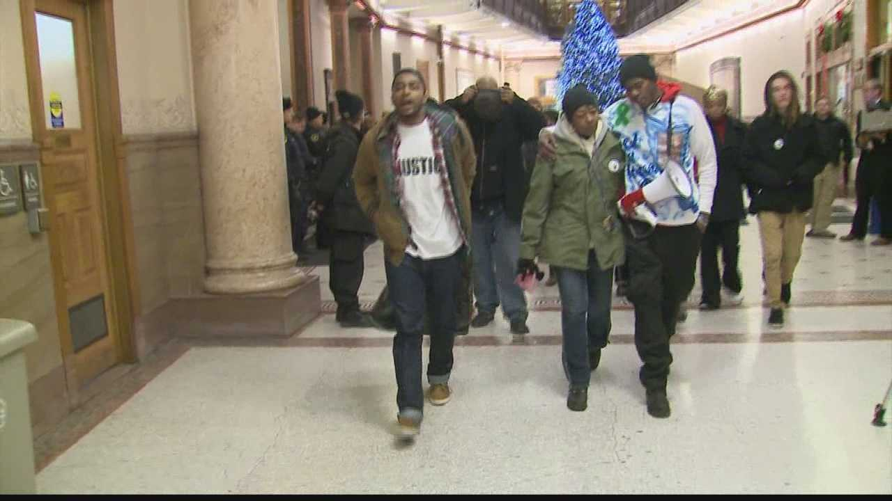 Dontre Hamilton supporters occupied City Hall for several hours Tuesday evening.