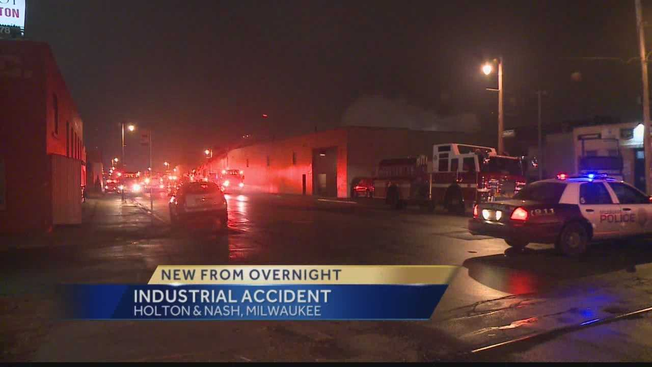 One man was injured in an industrial accident in Milwaukee early Monday morning.