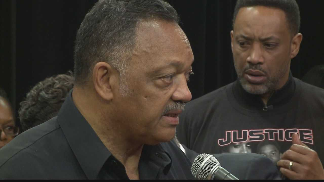 Supporters participated in a press conference with Rev. Jesse Jackson Saturday