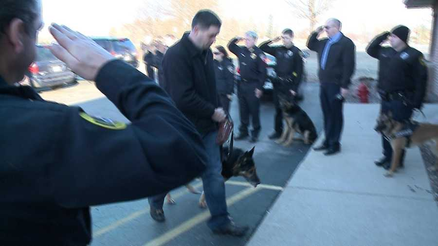 Police officers and some K9s lined up to give Vero a final hand salute.