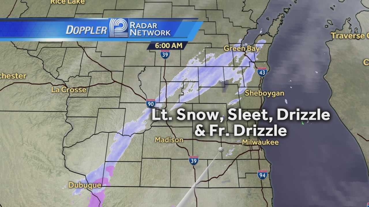 Light drizzle and snow making its way through Wisconsin could lead to a slick commute Thursday.