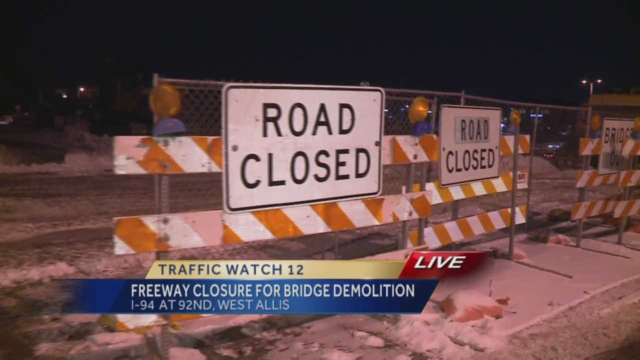 Interstate 94 just east of the Zoo Interchange will close overnight Thursday as crews remove the 92nd Street bridge.