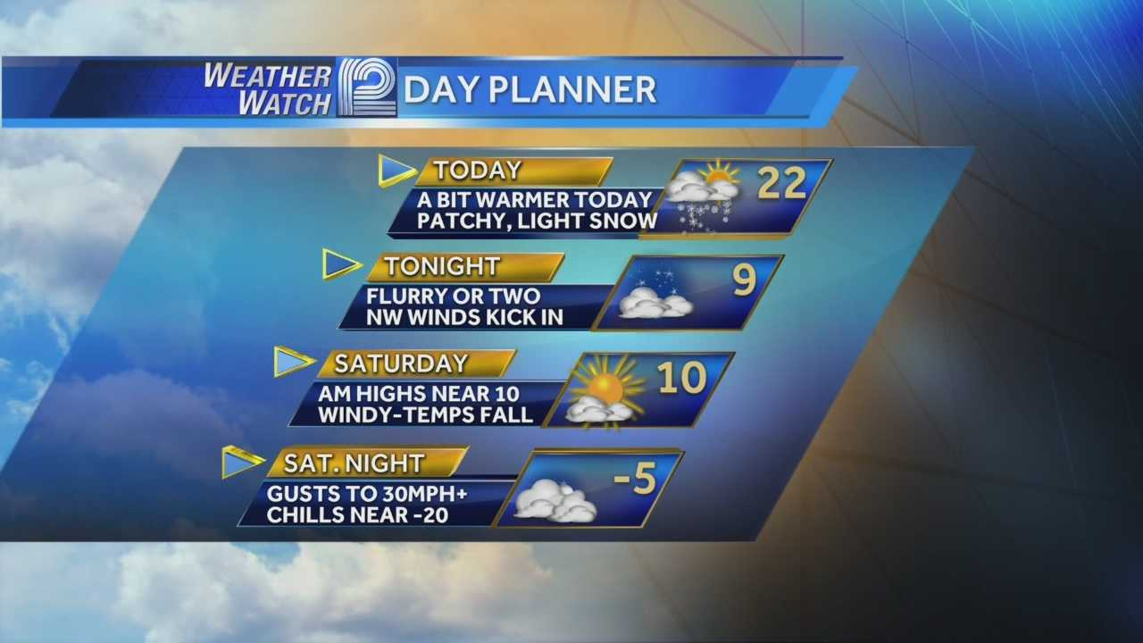 A cold morning on tap, but Saturday night will bring strong winds and bitter wind chills.