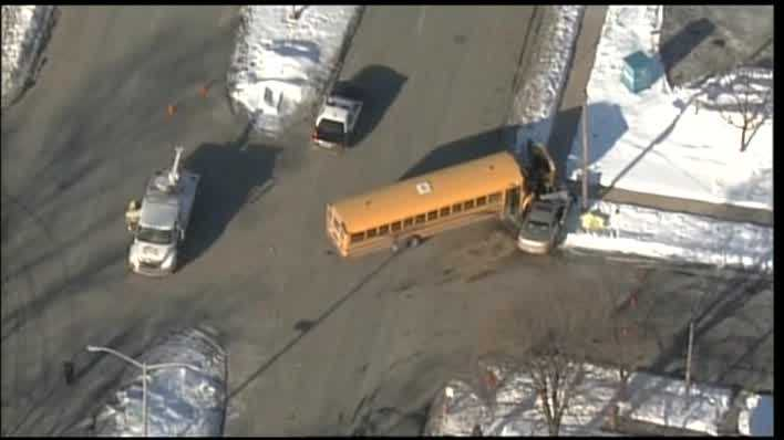 A school bus and a car collided on 91st and Hampton Avenue Thursday morning.