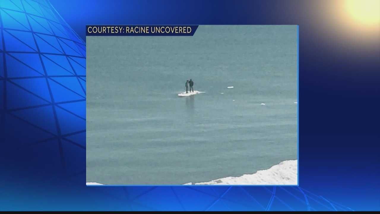 The two teens were walking on the ice when it broke and they started floating out into Lake Michigan.