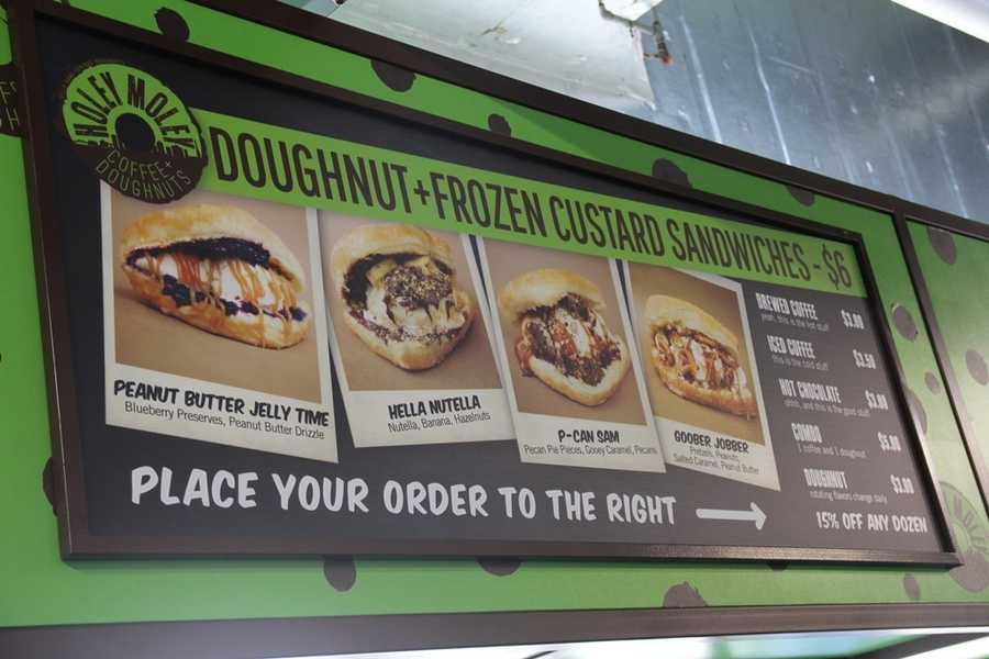 "Serving doughnuts, coffee, hot chocolate and the new ""doughnut+frozen custard sandwiches""."
