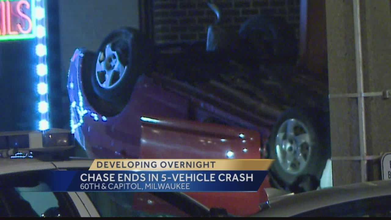 Milwaukee police said a teen led officers on a chase that ended with a 5-car crash.