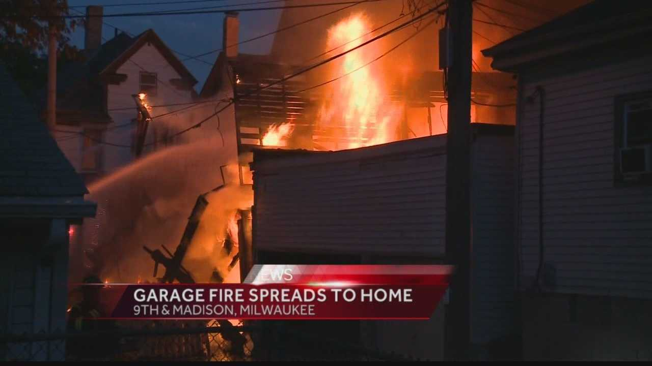 A garage was destroyed and neighboring home damaged in an early-morning fire on Milwaukee's south side.