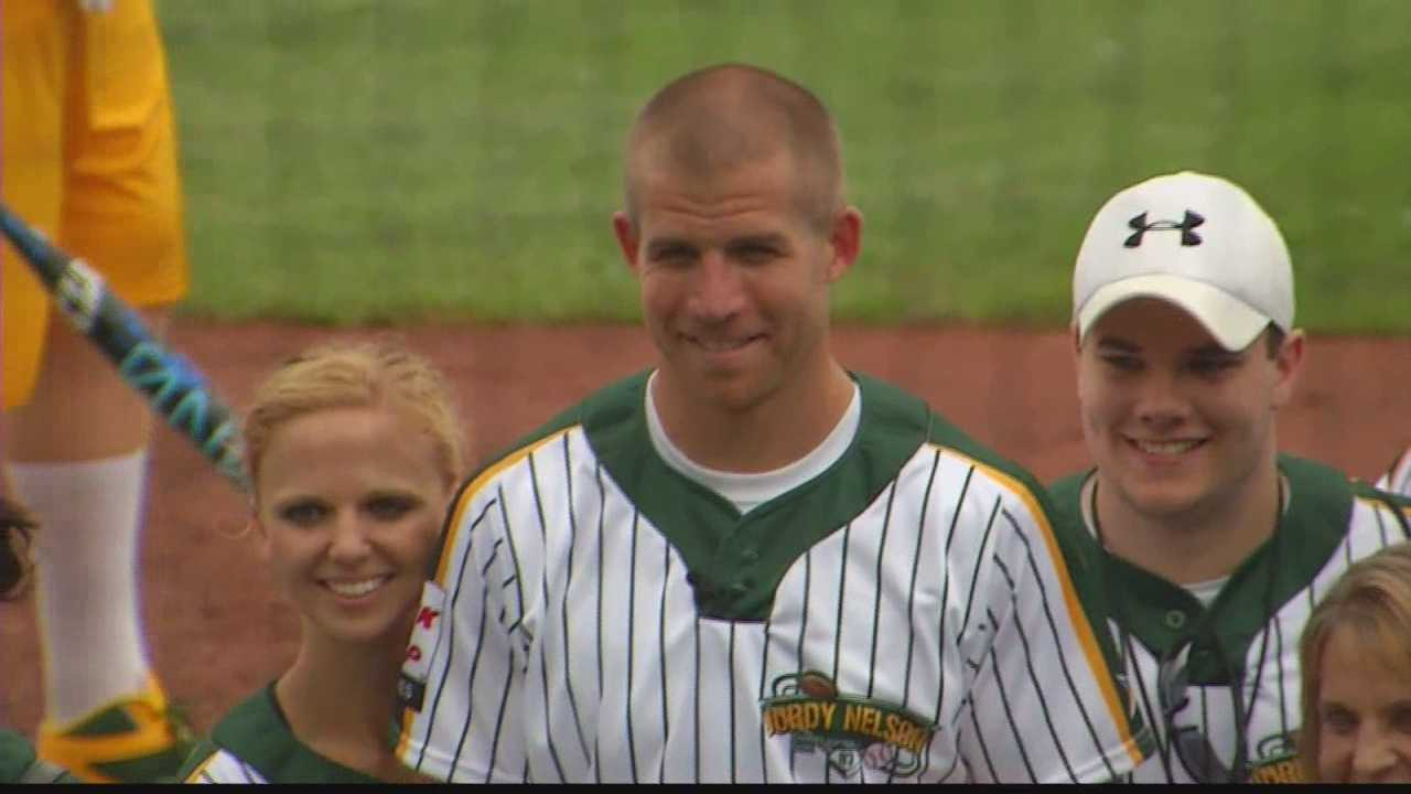 The Packers offense and defense squared off at the annual Jordy Nelson Charity Softball game in Appleton
