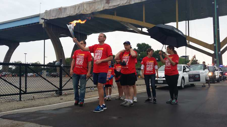 The WISN team braved the rain early Monday morning to kick off the relay for the day.