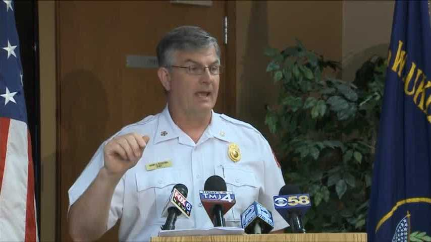 Milwaukee Fire Chief Mark Rohlfing discusses a Monday incident where a firefighter was struck by a bullet at an emergency scene
