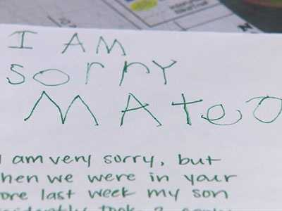 5yearold sends apology for shoplifting