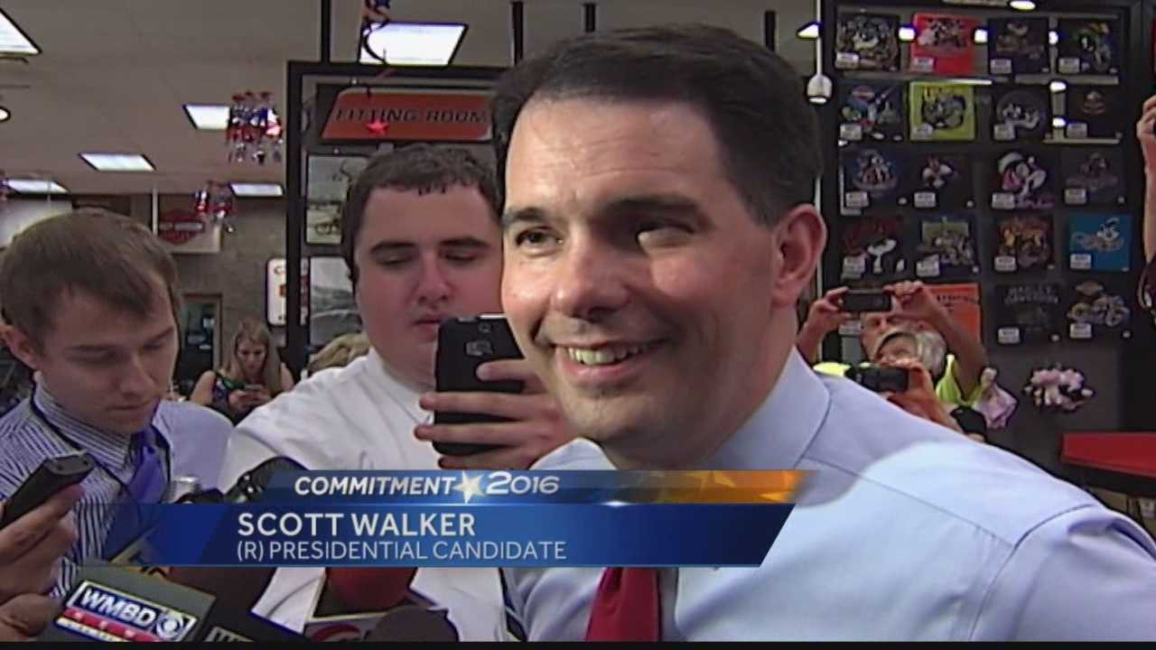 Gov. Scott Walker makes a presidential campaign stop at a Harley Davidson dealership in Bloomington, Illinois.