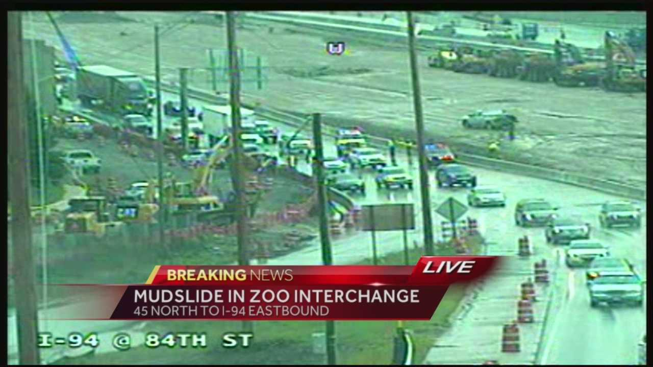 US 45 from the north to I-94 eastbound is closed in the Zoo Interchange because of mud and rain.