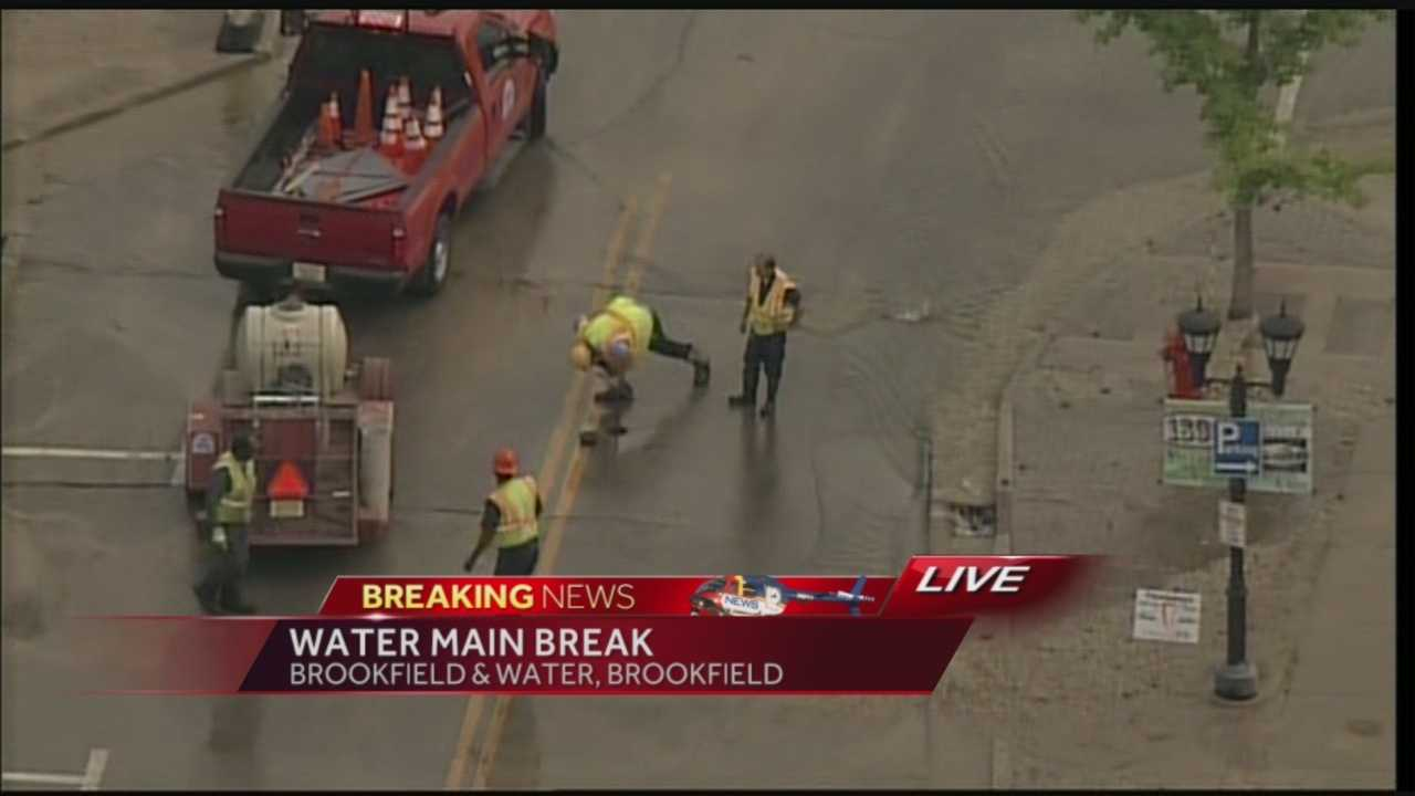 A broken water line is causing minor flooding on Brookfield Road just east of Mitchell Park.