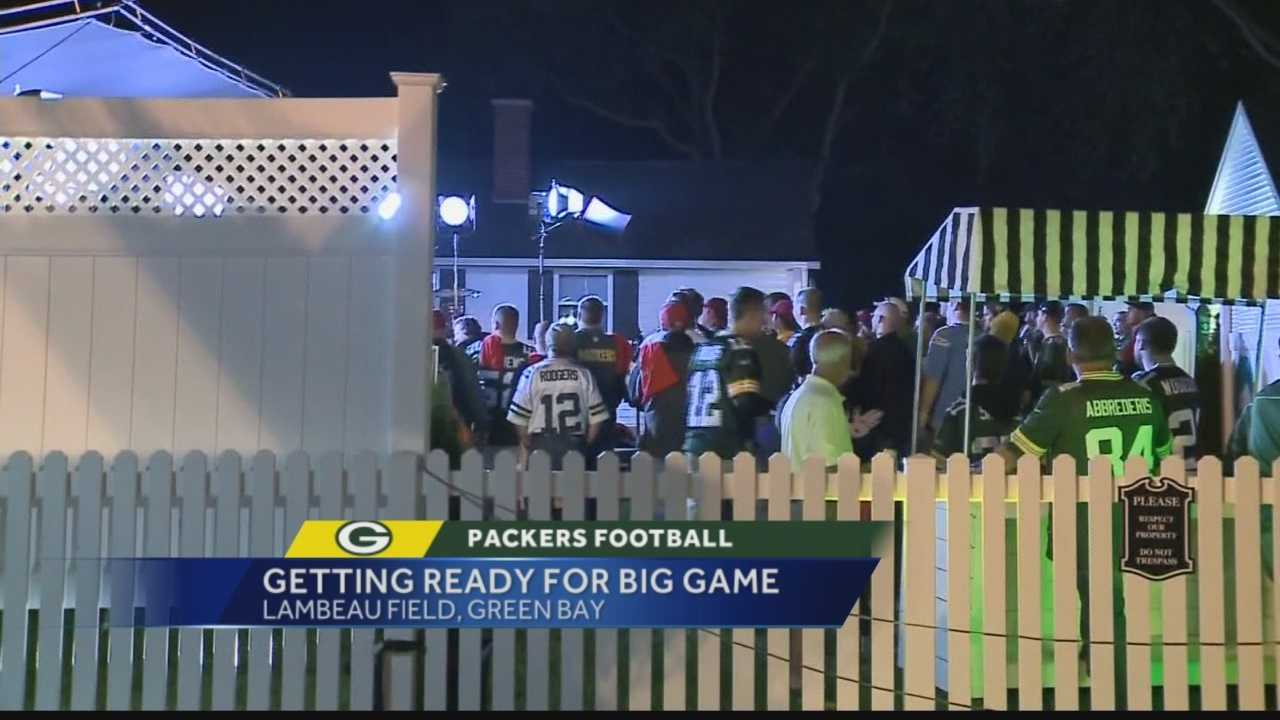 Dozens of Packers fans gathered outside Lambeau Field, more than 14 hours ahead of Monday night's game against Kansas City.