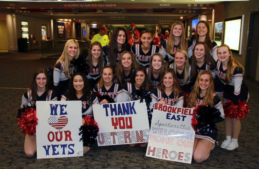 The Brookfield East Spartanettes were on hand to lead the parade and get the crowd cheering.