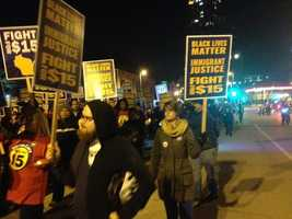 Hundreds of protesters arrive outside the GOP debate.