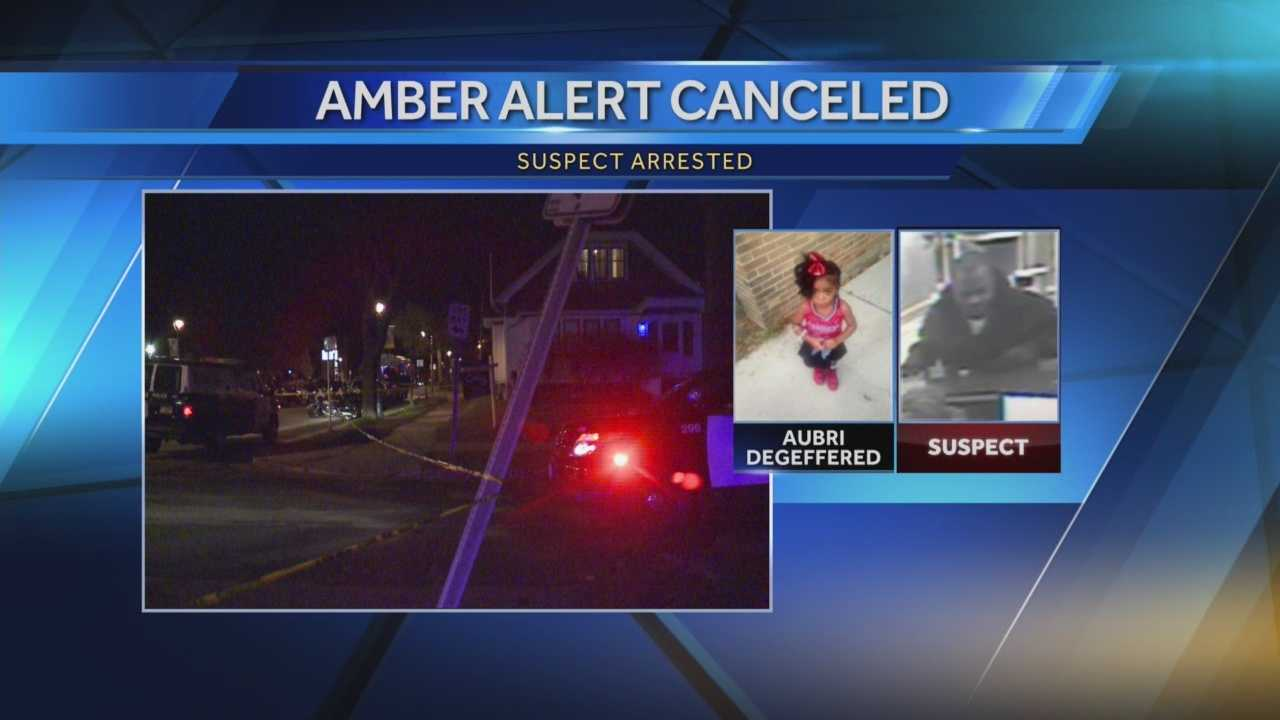 An Amber Alert was issued in Wisconsin Sunday after a car was stolen with a 3-year-old girl inside.  The girl, and the suspect, were found in Lake Mills.