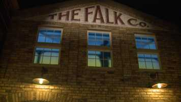 A new courtyard highlights some of Milwaukee's industrialized businesses, like the Falk Company, North Side Lumber and even a streetcar garage.