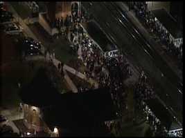 Crowd waits in Sturtevant