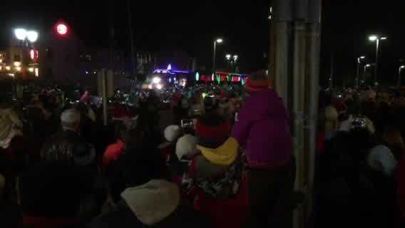 The train was greeted by a huge crowd in Wauwatosa.