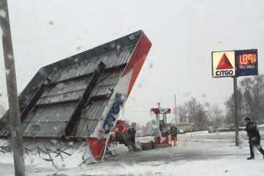 & Gas station canopies topple over due to wind gusts