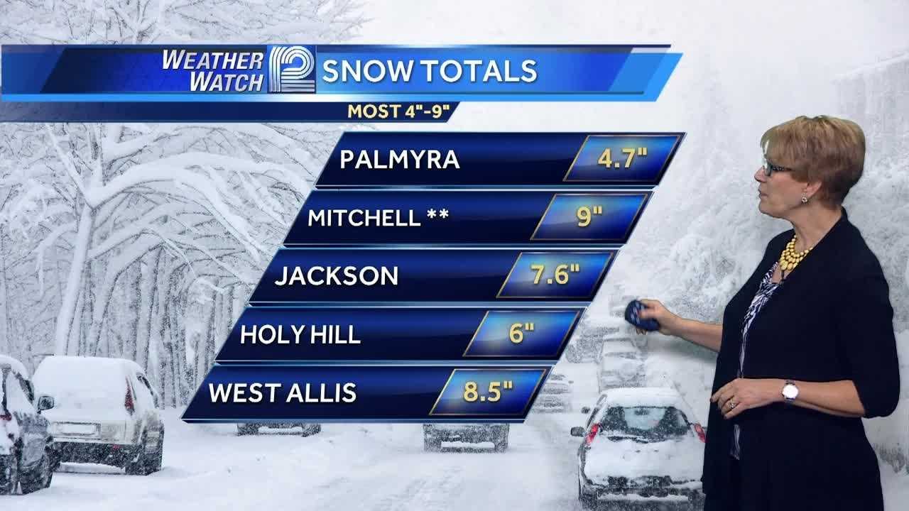 Snow totals from Monday's winter storm are starting to come in.