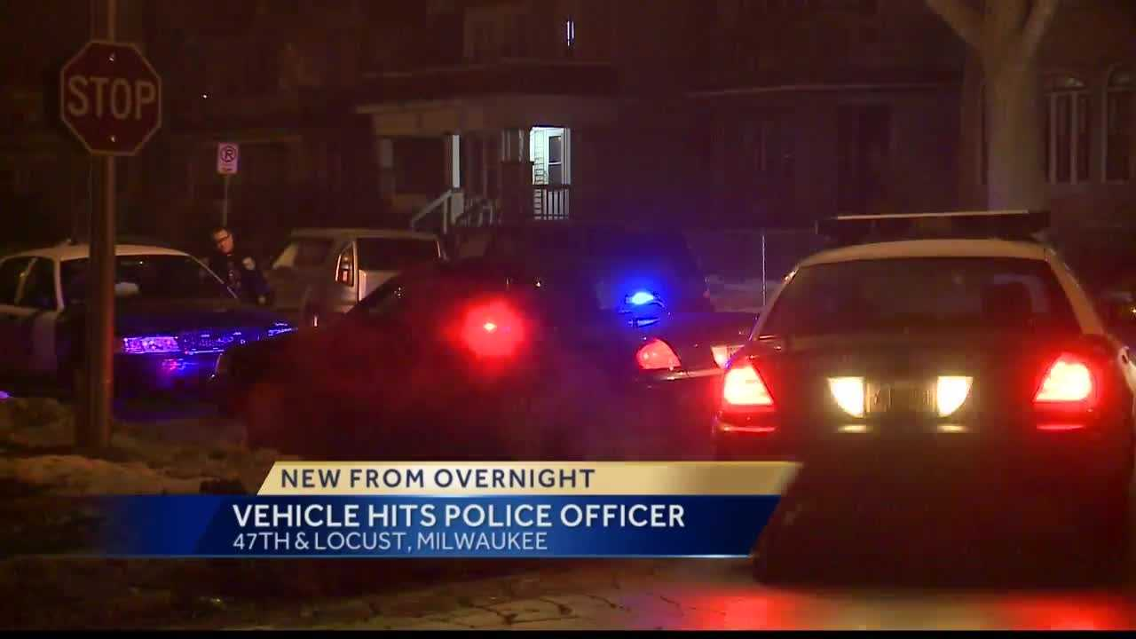 A Milwaukee police officer was struck by a hit-and-run driver during an arrest Monday night.