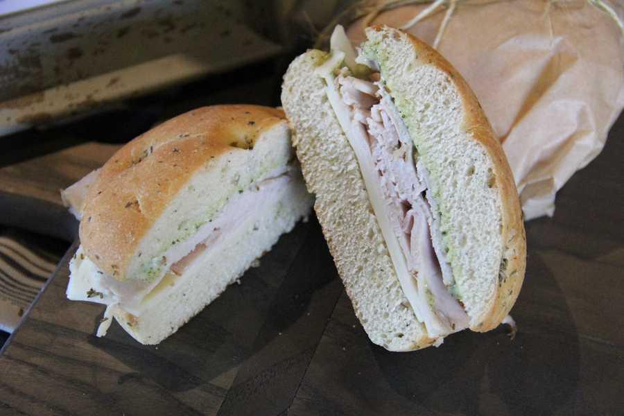 One of the two new deli sandwiches featured, Turkey Focaccia sandwich.