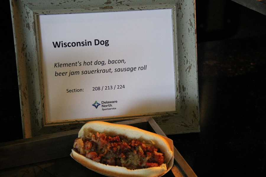The Wisconsin Dog also starts with a Klement's hot dog and is topped with bacon and beer jam sauerkraut on a sausage roll.  This can be found in sections 208, 213 & 224.