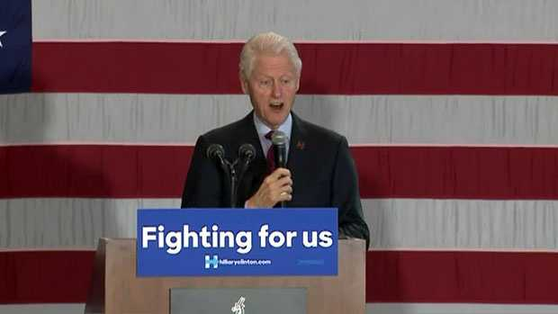 Former president Bill Clinton campaigns for his wife, former Secretary of State Hillary Clinton, at Lawrence University's Warch Campus Center in Appleton, Wis. on Friday, April 1, 2016.